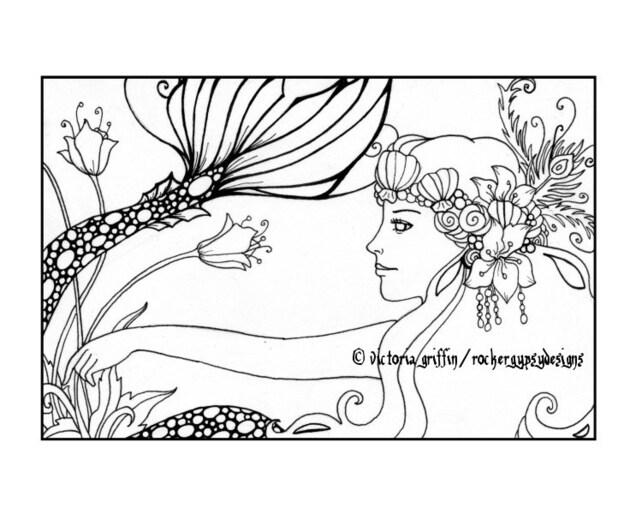 Sirena para colorear página sirena colorear página página | Etsy