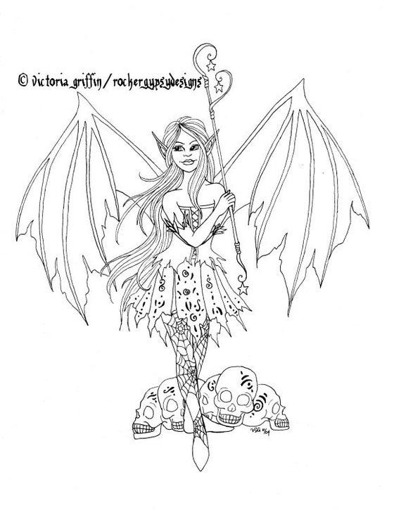 Hadas para colorear página página para colorear de Halloween | Etsy