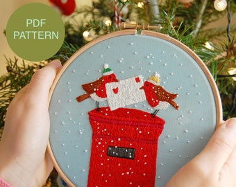 Christmas Hand Embroidery Instant Download PDF Pattern / Festive Postbox Robins / Printable Winter Embroidery Tutorial