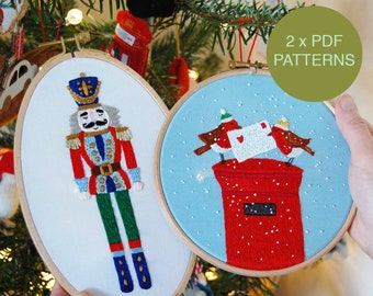 Christmas Hand Embroidery 'Jolly Nutcracker' and 'Festive Postbox Robins' Pattern Bundle / 2 x Instant Download PDF Patterns