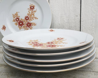 6 primitive PLATES, Dinner Plates , typical 70s / vintage home decor