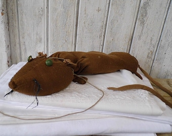 ancient Toy / 40s hand stitched rat / toy rat, Rag doll