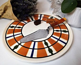 """retro cake plate 11.5"""" / serving plate / retro plate / ceramic"""