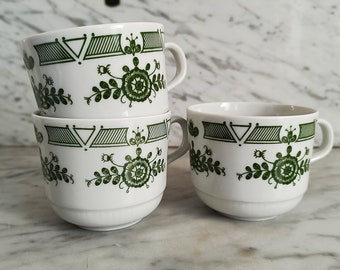 3 Coffee cup / mug green decor / Tea Cups / Porcelain Made in Germany by KAHLA