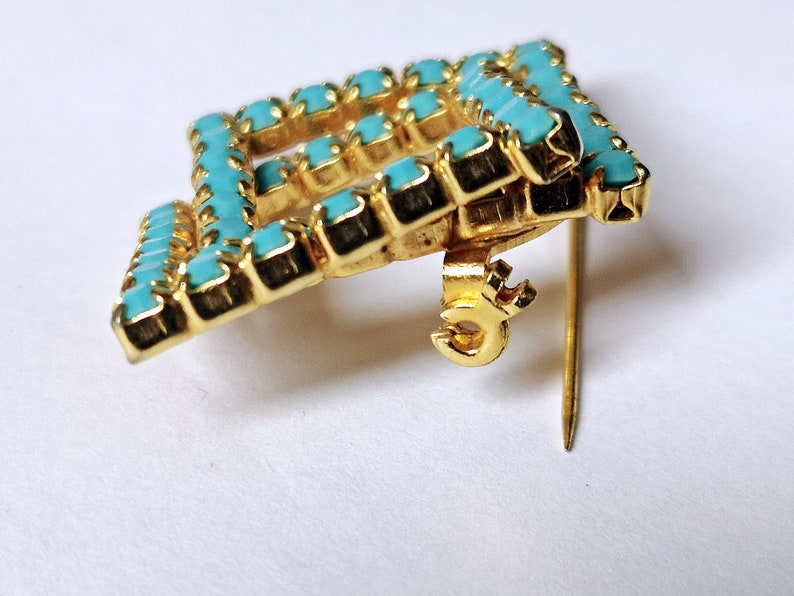 bouquet Brooch Pin Vintage Brooch Gold Turquoise costume jewellery