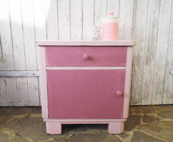 Commode armoire table de chevet rose rose style brocante - Table de chevet rose ...