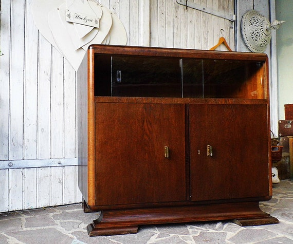 Old Dresser Art Deco Old Cupboard Sideboard Dressing Dark Wood Etsy