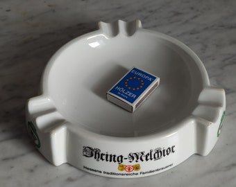 Large ashtray for the regulars' table / with advertising / regulars' table ashtray made of porcelain / cigarettes, cigars, cigarillos
