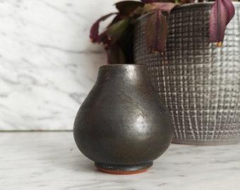 "Vintage vase 2.3 "" / Small brown vase / mini vase / Mid Century / collectible ceramic vase / 1950s"