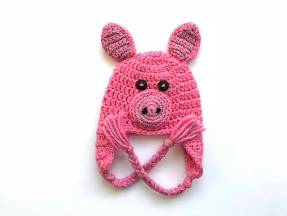 Crochet Pig Hat Made To Order Baby Pig Halloween Costume Etsy