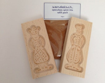 vandotsch speculaas spice with man and woman mould to make authentic Dutch speculaas biscuits