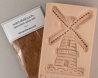 vandotsch speculaas spice with large windmill mould / mold to make authentic Dutch speculaas biscuits