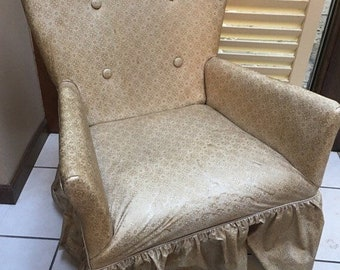 25814709391f Vintage Darling small boudoir chair with sweetheart back chair covered in  oil cloth gold floral pattern