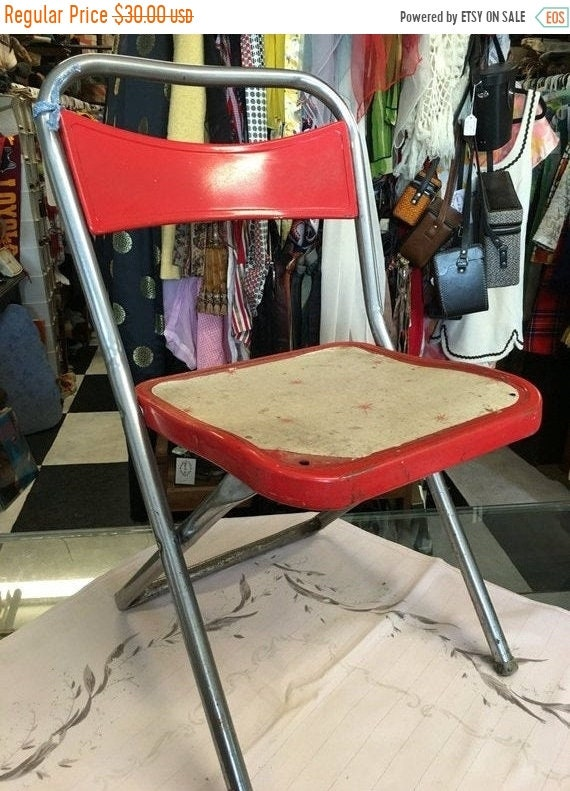 Admirable Summer Sale Retro Atomic Kids Metal Red Folding Chair By Hampden Mid Century Caraccident5 Cool Chair Designs And Ideas Caraccident5Info