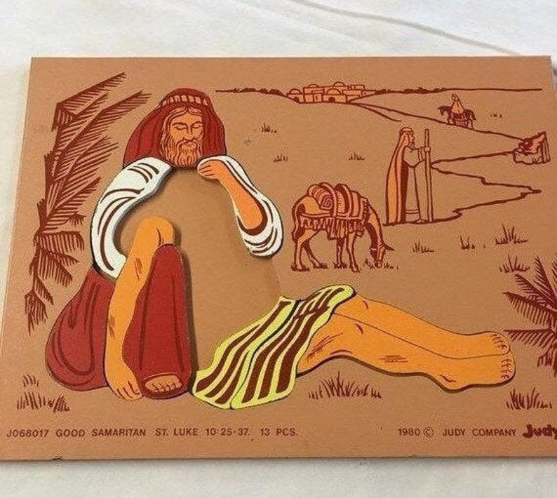 Summer Sale Vintage Wooden Good Samaritan Puzzle By Judy Craft Nursery Art Children