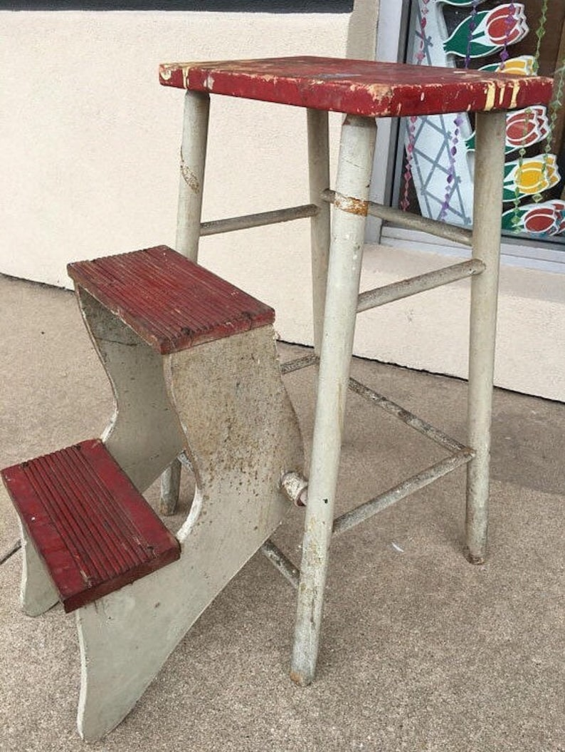 Pleasing Farmhouse Red And White Step Stool Wooden Ladder Industrial Office Shabby Chic Ibusinesslaw Wood Chair Design Ideas Ibusinesslaworg