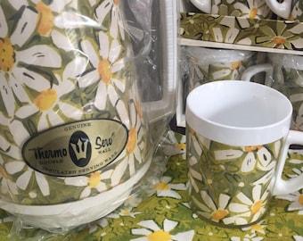 Thermo Serv Daisies thermos carafe 8 mugs retro home