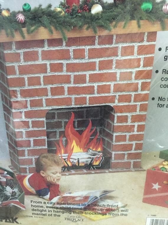 Cardboard Christmas Fireplace.Autumn Sale Retro Unopened Cozy Glo Fireplace Cardboard Christmas Decor Holiday Accent Santa Kitsch Holiday
