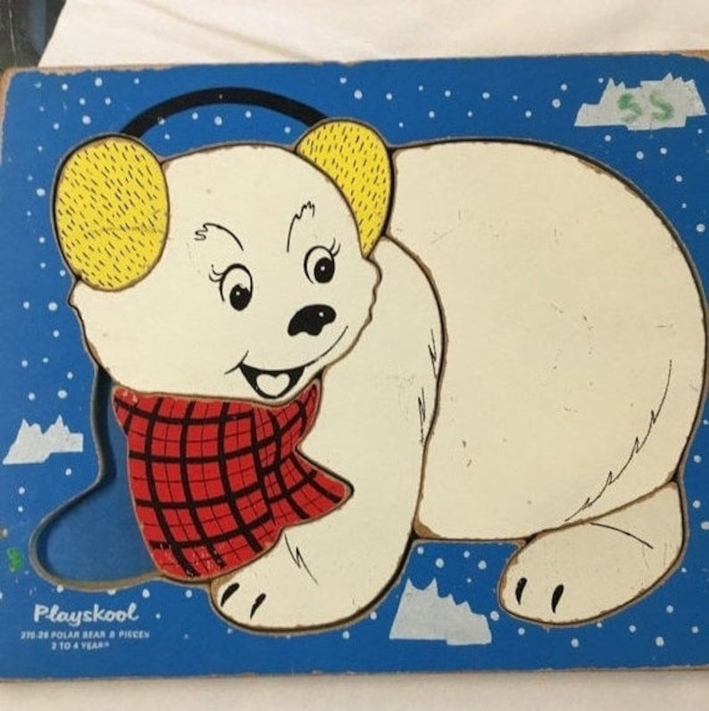 Summer Sale Vintage Wooden Of Little Polar Bear With Ear Muffs Puzzle By Playskool Craft Nursery Art Children