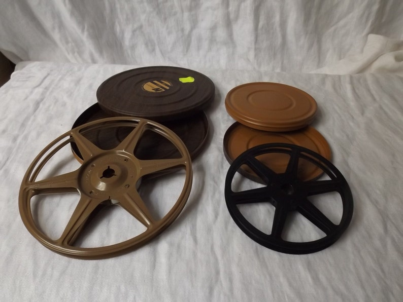 SUMMER SALE Pair of Harwood dual 8 MM vintage reel can continers retro Mad men mid century