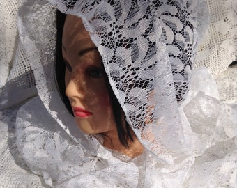 White Lace Hood, White Hoodie, Festival Hoods, 13th Anniversary Gift, Lace Gift, Wife Gift, Boho Hood, Cosplay Hood, Lace Scarf
