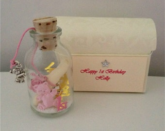 Personalised Babys First Birthday Message In A Bottle Treasure Chest Box 1st Gift Present Card Poem Keepsake