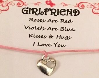 Bugs y besos deseo Pulsera Amistad tarjeta de regalo Ladybird encanto día de San Valentín