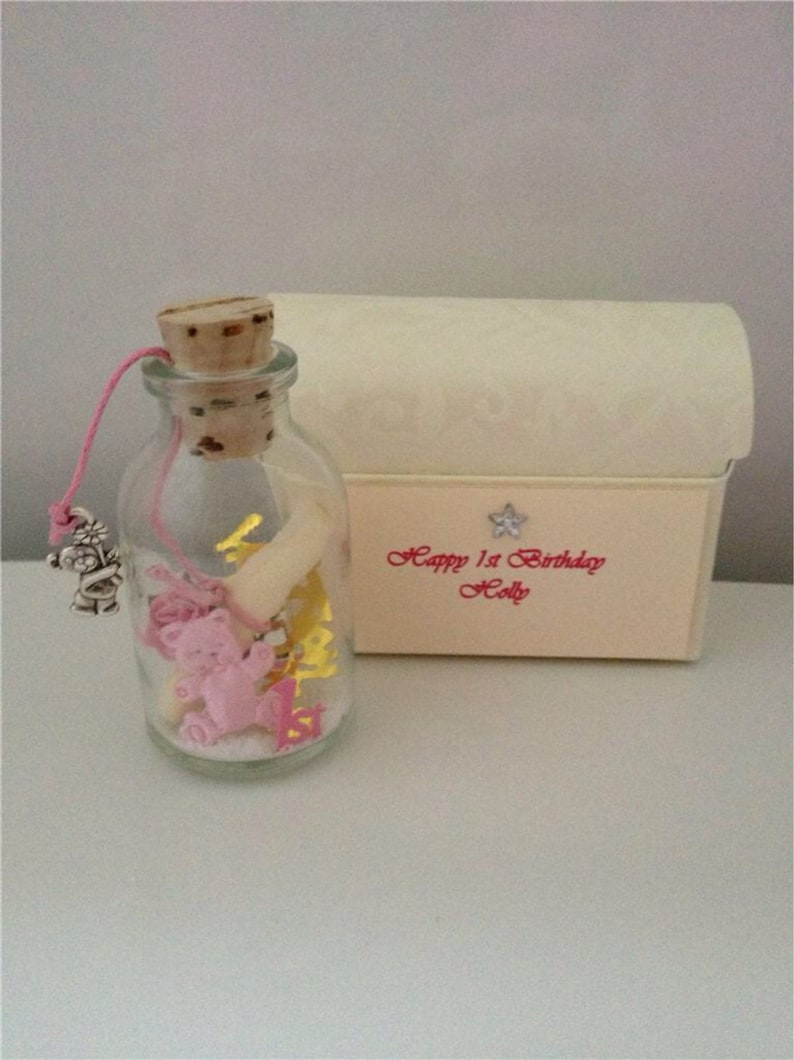Personalised Babys First Birthday Message In A Bottle Treasure
