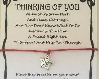 Thinking of you, support, supporting, Best friend, friend, sister, card, wish bracelet, charm, bracelet, gift, various charms and colours