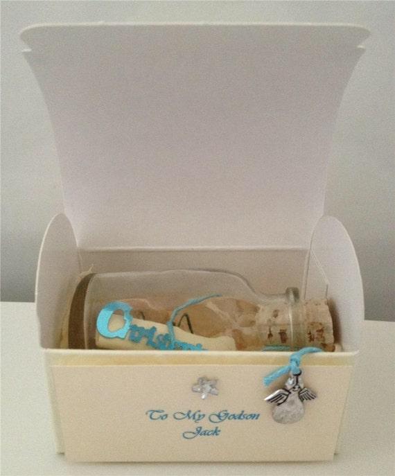 PERSONALISED CHRISTENING BAPTISM MESSAGE IN A BOTTLE POEM KEEPSAKE GIFT  CARD