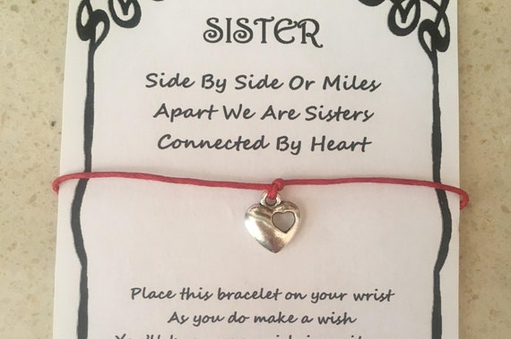 WISH BRACELET NANNY MILES APART HEART QUOTE GIFT CARD VARIOUS COLOURS CHARMS