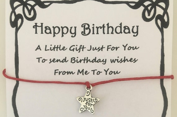 Birthday Card Wish Bracelet Charm Gift