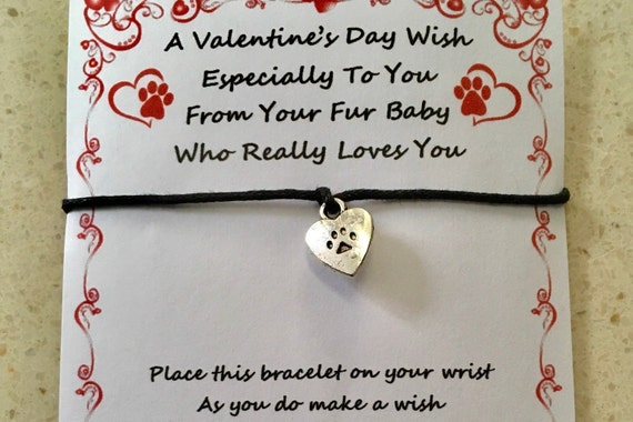 WISH BRACELET CHARM VALENTINE'S DAY FROM A PET FUR BABY LOVE CARD GIFT  PRESENT
