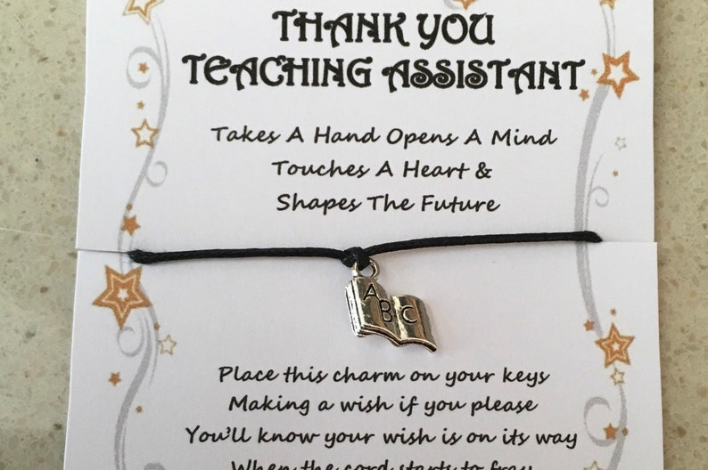 gift various charms and colours takes a hand bracelet Thank you card quote Teacher leaving charm wish