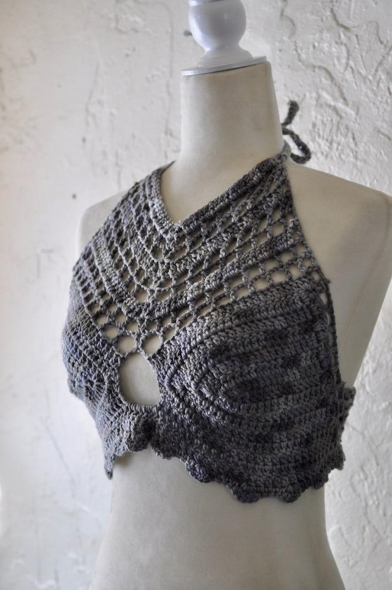 festival clothing Gray Bralette halter top boho crop top
