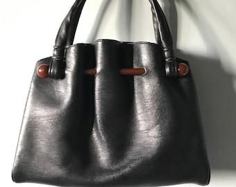 Vintage 1950's / 60's Black Boxy Leather Handbag Purse Tortoiseshell Lucite Bar Detail - Gold Tone Hardware - Interior Compartment