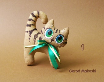 Coffee cats Funny - 15 cm - plush - original toy with coffee flavour - gift - present - kitten cat chat lover - hand made - home made
