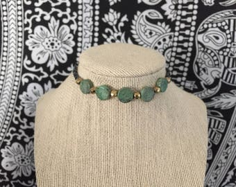 African Turquoise + Hematite Choker Necklace