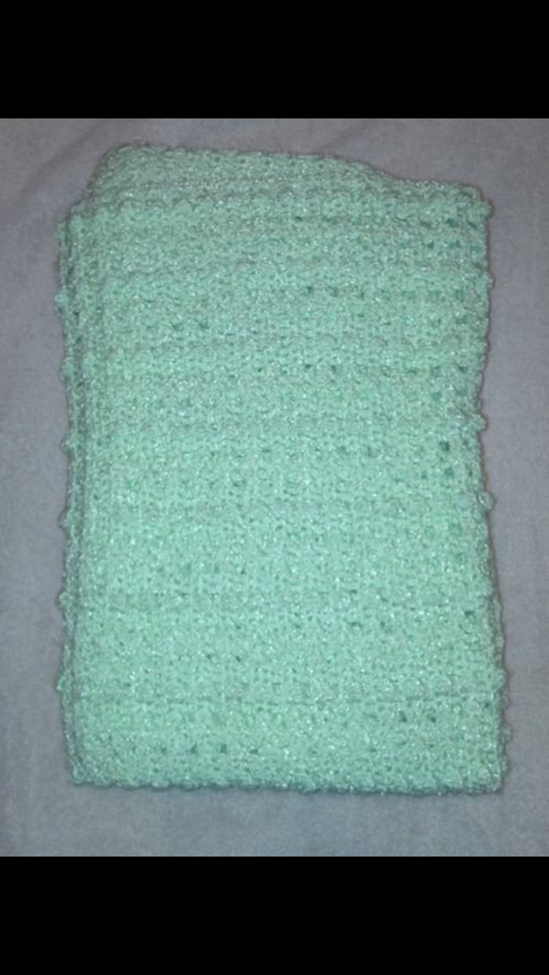 Mint green variegated baby yarn handmade crochet baby blanket