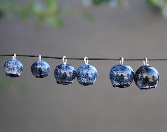 Handmade Glass Blueberry Bead Charm  - Lampwork Glass Blue Purple Dainty Pregnancy Blueberry, Arandano Berry
