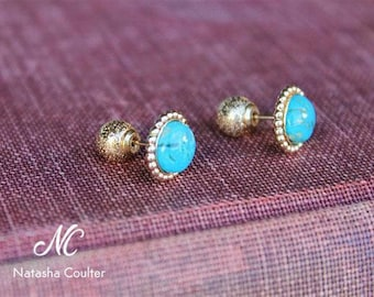 Genuine Arizona Kingman Turquoise stud earrings - 14k Gold Filled Double Ball earrings - Natural Blue Turquoise Jewelry - 8-10 mm Turquoise