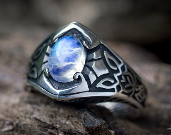 "Rainbow Moonstone Ring ""Windsong"" MADE TO ORDER - Sterling Silver ring - Statement Ring - Celtic Jewelry"
