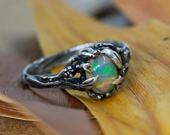"""Fire Opal Engagement Ring """"Chloe"""" 
