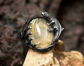 Rutilated Quartz Ring quot Sauria quot Lizard ring for women Sterling Silver ring Mens ring Animal ring Vintage ring Gemstone ring