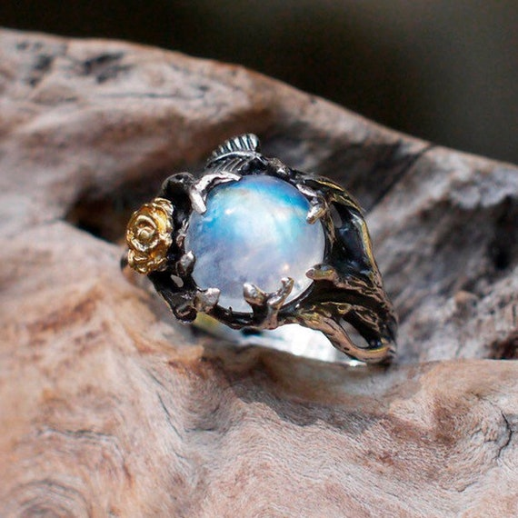 Antique Ring 925 Sterling Silver Ring Yellow Gold Plated Ring Cushion Blue Moonstone Ring Rainbow Moonstone Ring Wedding Gift Jewelry
