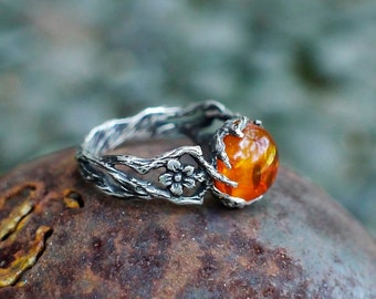 """Amber Ring """"May"""", antique ring, womens rings, flower ring, sterling silver ring boho jewelry, bohemian ring"""