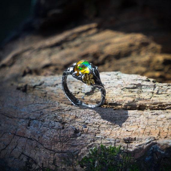 Sterling Silver Ethiopian Fire Opal Ring Firefly Etsy
