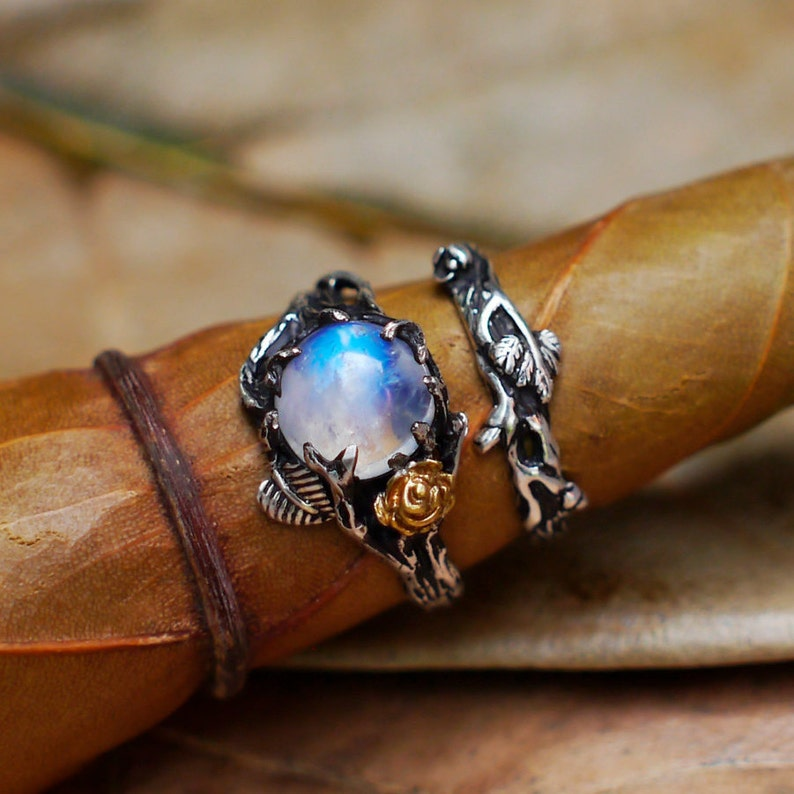 Moonstone Ring Set CleoMio Sterling Silver  Moonstone image 0