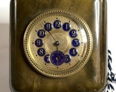 Vintage ART DECO Bakelite Blue Enamel Table Clock - French Movement - Recent Service