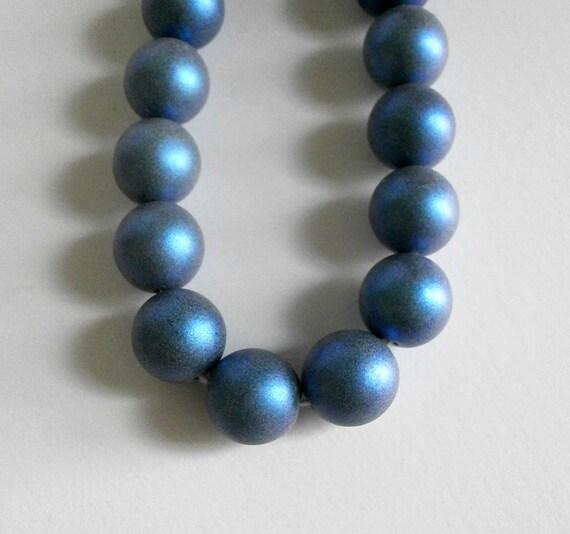 Metallic Suede Blue 10 10 mm Czech Glass Round Beads